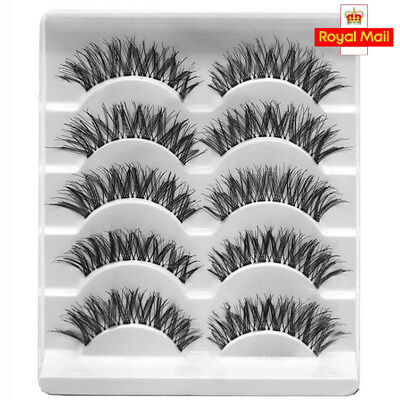 5/10 Pairs Makeup Handmade Natural Long Dense Fake False Eyelashes Extension UK
