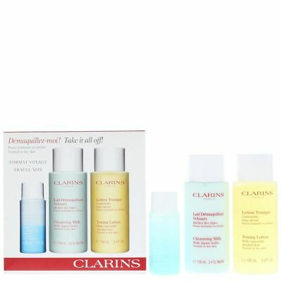 Clarins Toning Lotion 100ml, Cleansing Milk 100ml, Make-Up Remover 30ml Gift Set