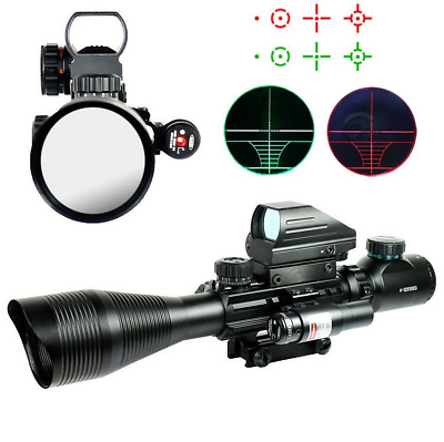 Tactical Rifle Scope 4-12X50EG Scope+Holographic 4 Reticle Dot Sight &+Red Laser