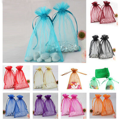 50× Organza Drawstring Pouches Candy Jewelry Party Wedding Favor Gift Bags Pouch