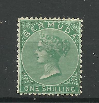 Bermuda 1865/03 Sg 11, 1/- Green, Lightly Mounted Mint with gum. (CW 235)