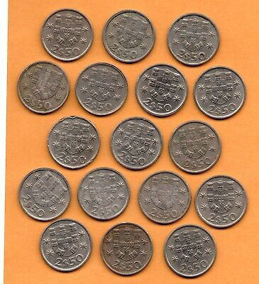 1975 to 1985 Portugal 2$50 Escudos Lot of 17 Coins