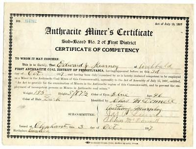 1917 Anthracite Coal Miner Certificate of Competency Olyphant Pennsylvania