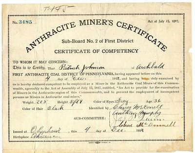 1912 Anthracite Coal Miner Certificate of Competency Olyphant Pennsylvania