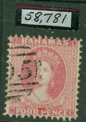 SG 10 Bahamas 1862. 4d dull rose, no WMK, perf 11½. Very fine used with a...