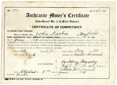 1919 Anthracite Coal Miner Certificate of Competency Olyphant Pennsylvania