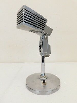 Vintage Mid Century Modern Old Antique Retro Chrome Microphone With Table Stand