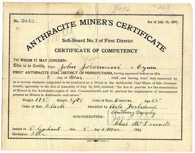 1913 Anthracite Coal Miner Certificate of Competency Olyphant Pennsylvania