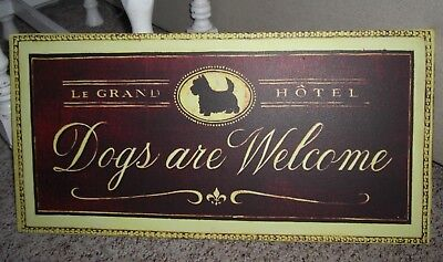 """WESTIE Highland Scottie terrier HOTEL SIGN """"DOGS ARE WELCOME"""" Canvas"""