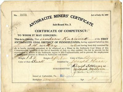 1916 Anthracite Coal Miner Certificate of Competency Carbondale Pennsylvania #2