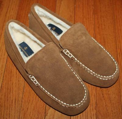 NEW Mens Brooks Brothers Suede Leather Moccasin Slippers $69 Faux-Fur Lined *F8