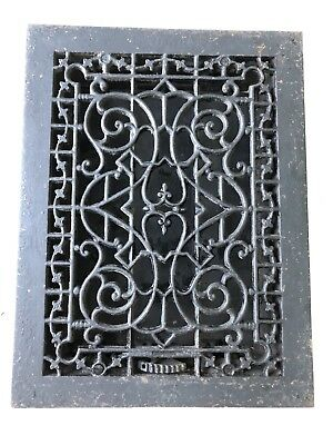 Antique 1890 Victorian Ornate Cast Iron Heating Grate Vent Register Louvre