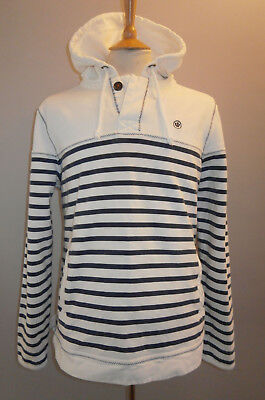 Fat Face Mens White & Blue Stripe Hoody Hooded Sweat Top Mens Large Sailing Deck