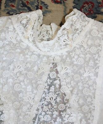 19th Century Ladies White Cotton & Lace Collar with Boning Beautiful Condition