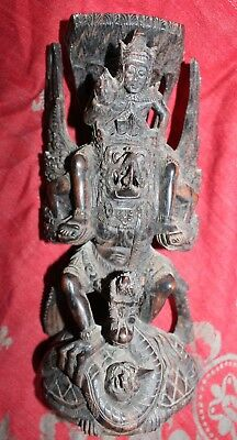 Antique Vintage Carved Wooden Asian Tibetan Buddha Statue Sculpture