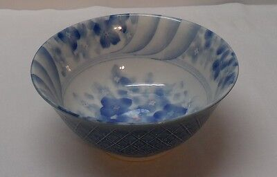 Bowl with Flowers Asian Blue and White Porcelain Footed Signed Vintage
