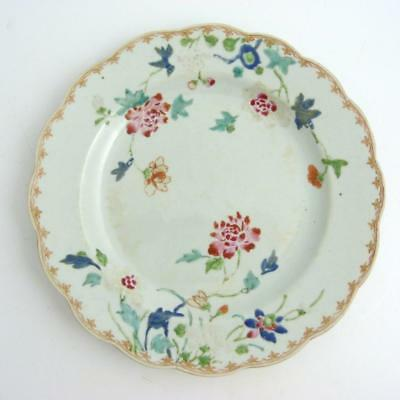 Chinese Famille Rose Porcelain Plate With Wavy Rim 18Th Century, Qianlong Period