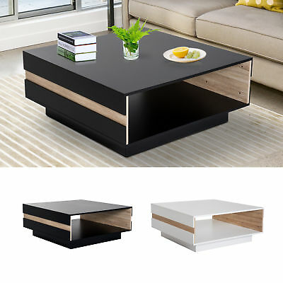 "35"" Modern Rectangle Coffee Table End Desk Storage Shelf Living Room"