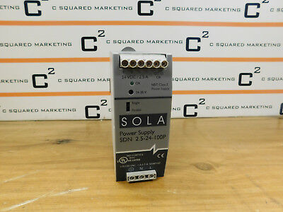Sola SDN 2.5-24-100P Power Supply 115/230Vac, 1.3-.7A, 50/60Hz Used BPP