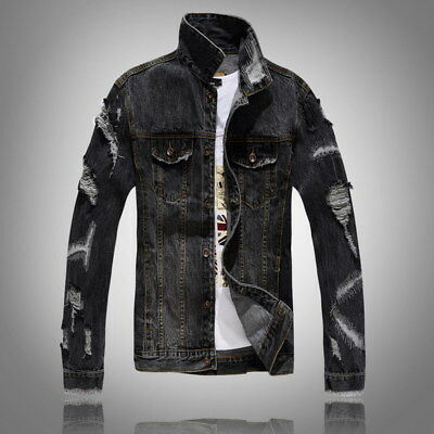 Mens denim Patch holes jacket Ripped jeans coat trench outwear beg retro korean