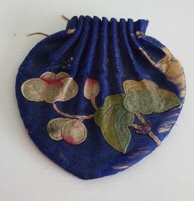 Chinese Antique Silk Embroidery Purse Cherries - Qing Dyansty Fine & Delicate
