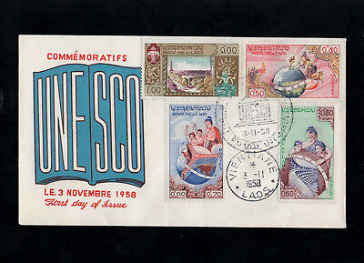 Laos - 1958 - Unesco - First Day Cover - With Special Cds Postmarks