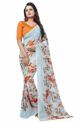 White Pakistani Georgette Saree Traditional Wedding Wear Floral Sari With Blouse