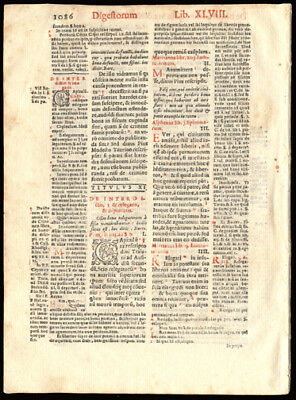 1591 Early Printing Leaf  Canon Law Roman Emperor Justinian I Catholic