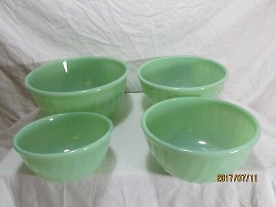 Vintage Fire King Oven Ware Jadeite green Swirl Nesting Bowls Set Of 4 USA Made