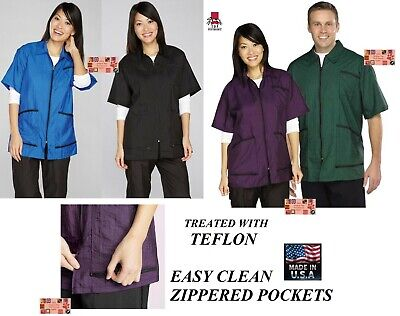 TOP PERFORMANCE ZIP FRONT Teflon JACKET STYLIST BARBER GROOMING STAIN RESISTANT