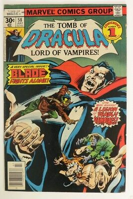 P993. TOMB OF DRACULA #58 Marvel Comics 6.0 FN (1977) Solo BLADE Issue `