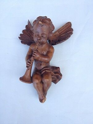 Lovely Vintage Italy Carved Wood Angel Putto Cherub plays flute  Statue Figure