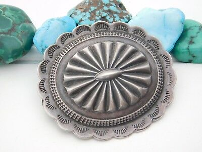 Vintage PAWN NAVAJO Repousse Sterling Silver Fred Harvey Tourist CONCHO Pin