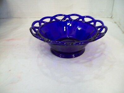 Cobalt Blue Glass Bowl, Compote, Scalloped Lace Rim, Free Shipping C6