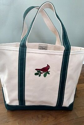 Vintage LL Bean Large Boat And Tote Canvas Bag Green & Ivory Stand Alone