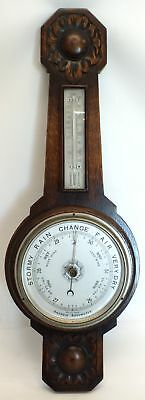 Vintage ANEROID British Made Carved Oak Barometer & Thermometer 24 Inch - C77