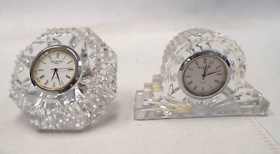 2 X Small WATERFORD CRYSTAL Battery Operated CLOCKS - H64