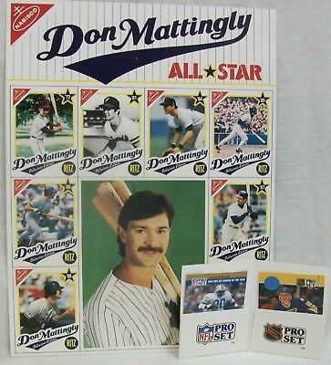 1989 Don Mattingly All-Star Poster (Nabisco, Ritz) + NFL & NHL Pro Set Cards EXL