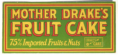 1920s Scarce Vintage MOTHER DRAKE'S FRUIT CAKE Store ADVERTISING SIGN Bakery