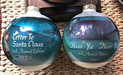 Goebel Hummel Glass Ball 2nd 3rd Annual Ornament 1984 1985 Letter to Santa Claus