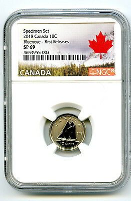 2018 Canada 10 Cent Ngc Sp69 First Releases Frosted Bluenose Dime Rare !