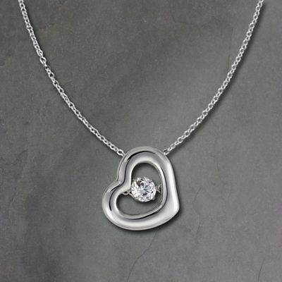 Heart Pendant Dancing Stone with Chain 925er Silver DSK106W [Imppac]