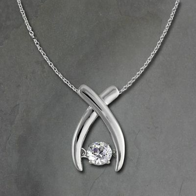 Cross Pendant Dancing Stone with Chain 925 Silver DSK103W [Imppac]