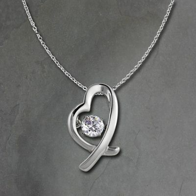 Heart Pendant Dancing Stone with Chain 925er Silver DSK102W [Imppac]