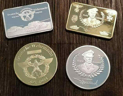 WWII WW2 German Afrika Korps Panzer Bar and coin lot x 4  desert campaign