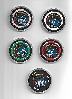 Midnight Gambler Set of Casino Chips sailed in Mid 1990s Pompano Beach Fl