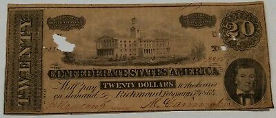 $20 Confederate States of America currency. Richmond February 17th 1864. Lot17A