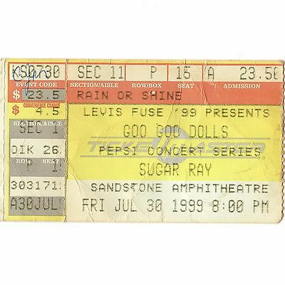 GOO GOO DOLLS & SUGAR RAY Concert Ticket Stub BONNER SPRINGS 6/30/99 SANDSTONE