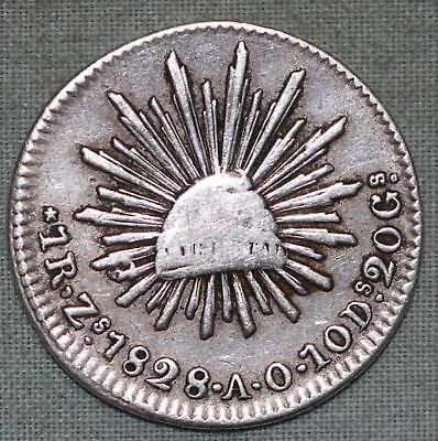 1828 Mexico Zs A.O. 1 Real~Silver~Zacatecas~ Combined S.& H.