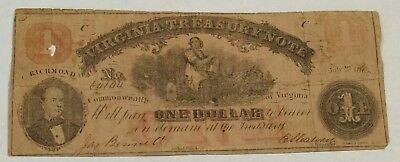Confederate $1. Virginia Treasury Note July 21, 1862. Lot#5A